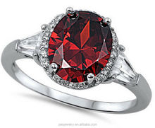 Charm design 925 Sterling silver garnet rings hot sell