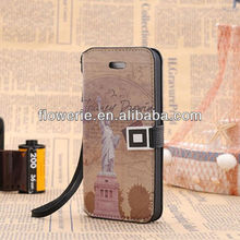 FL2133 2013 Guangzhou hotselling national flag design wallet leather stand case for iphone 5 5G