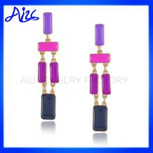 summer themed colorful brass enamel chandelier earring