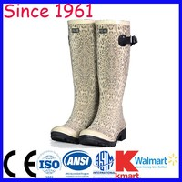 Long Rubber Boots Light Color Leopard Printing Knee Height Fashion Rain Rubber Boots