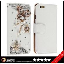 Keno White Luxury 3D Fashion Handmade Bling Diamond PU Flip Leather Mobile Phone Flip Case for iPhone6