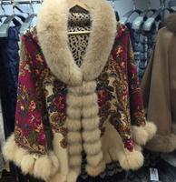 New style fashion silk cape with fox fur trim /silk shawl
