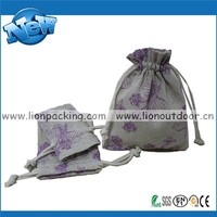 drawstring linen fabric pouch for jewelry packanging