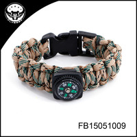 Military style paracord bracelet with compass survival bracelet