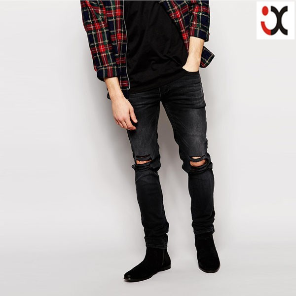 ... ripped knees black skinny fit men torn jeans, branded mens jeans, men