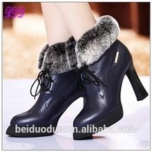 fuzzy de cuero auténtico de moda corto del alto talón de goma botas botas de dama