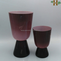 Wholesale hand made purple glass flower vases for home decorations