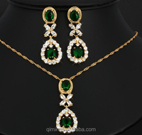 High Quality Bridal Jewelry Sets Drop leaf Pendant Necklace Earrings Combination Suit European and American Style