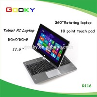 11.6 inch laptop intel Celeron 1037U with camera and WiFi mini laptop touch screen rotating 360 degree