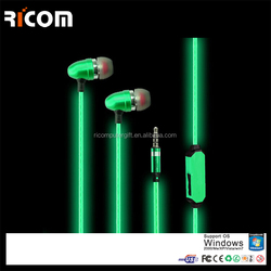 metal glowing earphone with mic,glow earphones,glow earphones original--E03036--Shenzhen Ricom
