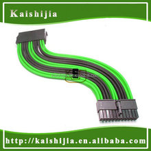 """12"""" New Black & Green Sleeved 24Pin ATX Female to Male PSU Power Extension Cable"""