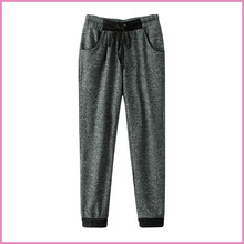 elastic-waist and ankle tied cotton fabric women sport pants