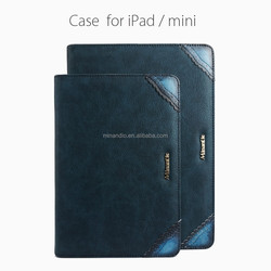 With stand up function and cards slots leather flip case for ipad/mini