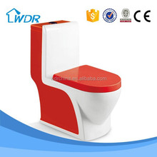 Hotel bathroom design red color power flush toilet
