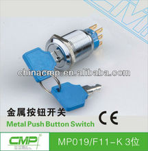 19mm CMP waterproof ip40 stainless steel 1NO 1NC or 2NO 2NC push button key switch