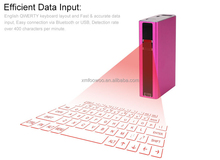 MagicalHottest!Wireless laser keyboard power bank via bluetooth or Usb connectionfor laptop,ipad mini case,tablet,travel case