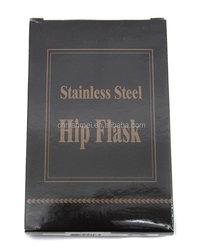 blank hip flask and packing with black box