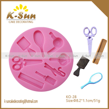 K-sun reposteria hair cut mirror fondant silicone mold China supplier