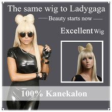 Ladygaga Bowknot Long Straight Wig Blonde Wigs with Bangs
