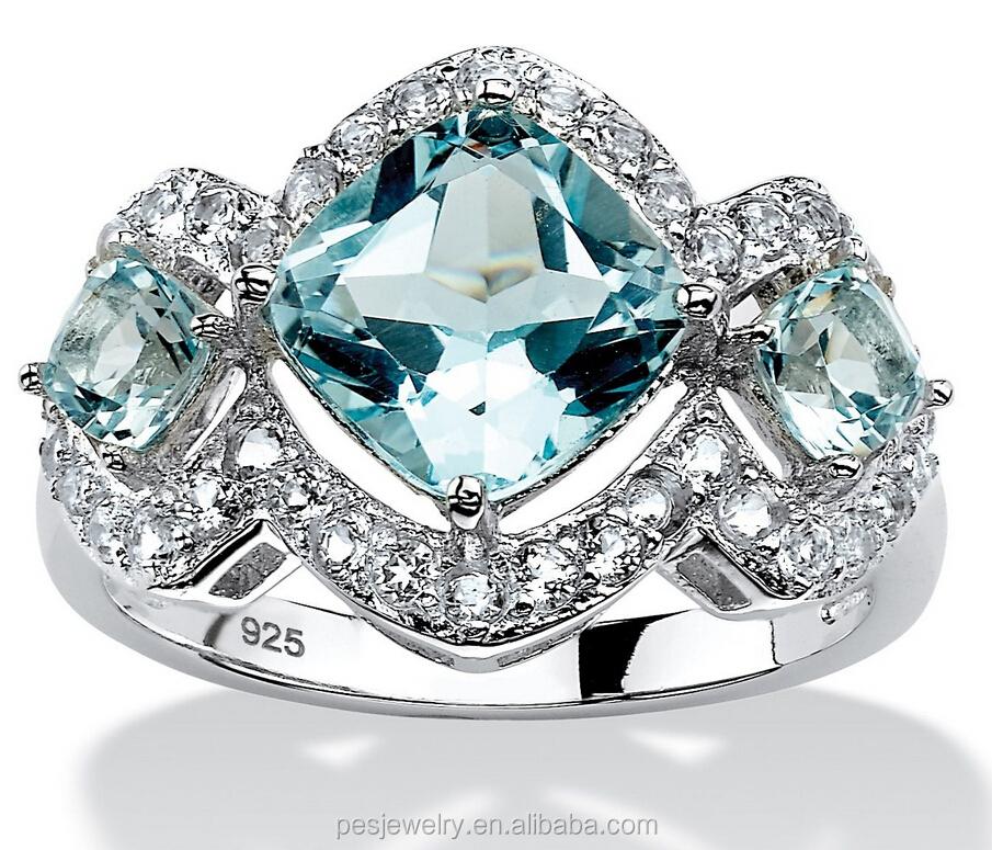 India Blue Topaz Ring 925 Silver Ring Engagement Gemstone Ring Wholesale