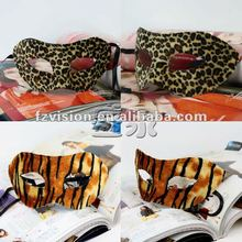 Hot Sale Half face Party mask Leopard strip plush plastic masquerade mask