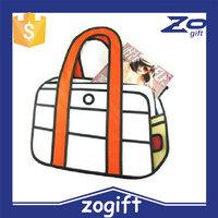 ZOGIFT 2D 3D comic bags cartoon woman hand bags