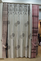 Hot sale polyester flocking bedroom window curtain, flocked jacquard curtain