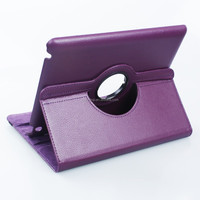 2015 Premium PU Leather Flip Folio Cover Rotate 360 degrees Leather Case for iPad Air 2 purple