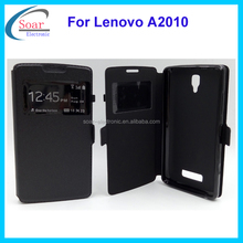 Wholesale view leather case for Lenovo A2010,magent flip cover case for Lenovo A2010