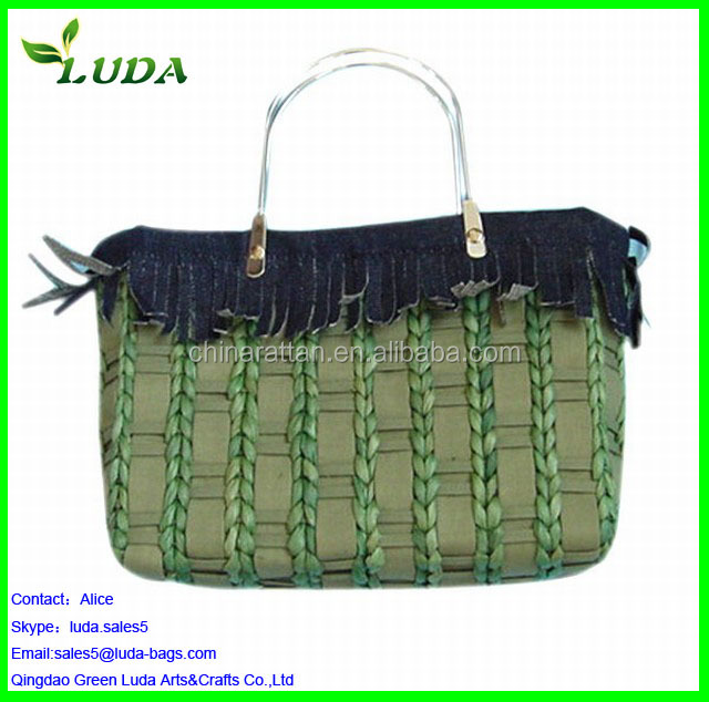 Blue Cornhusk Straw Woven Market Bag With Brown Handles