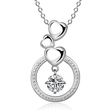 14k White Gold Graduating Journey crystal Three heart with Stone Pendant Necklace
