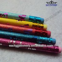 """7""""Standard Drawing Wooden Color Glitter Pencil With Color Eraser"""