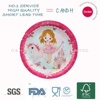 Princess fairy decoration pink theme holiday round plate