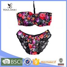Made in China Breathable Cute Girl Flower Lace Girls Bra And Panty