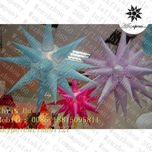 2015 hot selling stock colorful inflatable hanging lighting decoration spikey stars