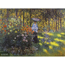 Handmade Claude monet impressionist oil painting reproduction, Woman with a Parasol in the Garden at Argenteuil