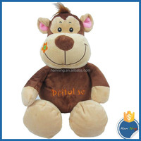 28cm sitting height plush forest animal with nylon string toys stuffed big mouth happy monkey