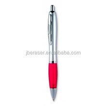 click push style red grip silver color chromed plastic ball pen