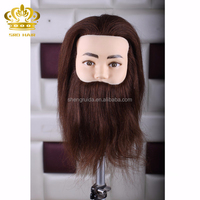 100% human hair 8 inch male mannequin head with beard