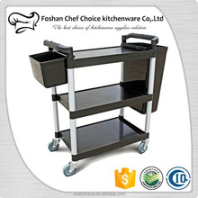 Plastic 3Layers Utility Dinning Cart Resturant food Trolley Hand Cart Foldable and Slince Design Plastic Trolley