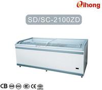 SD/SC-2100ZD 800L Supermarket Sliding Glass doors Display Deep Freezer 110V-240V with CE CB SASO SONCAP Certificate