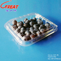 Transparent environmentally-friendly plastic blister fruit/blueberry packing with hole.