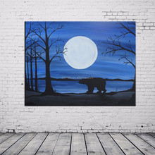 Handmade Winter's White Bear Oil Painting Unique Polar Bear Shadow On Canvas