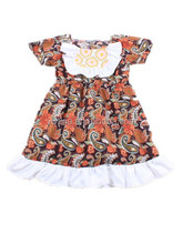 2015Latest Bib Ruffle Printed Baby Dress Flower Girl Dresses For 7 Year Olds Children's Cotton Short Sleeve Dress Clothing