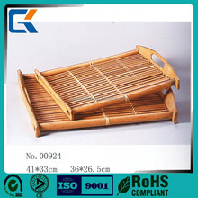 Custom design large woven bamboo tray for japanese tes sets decorations