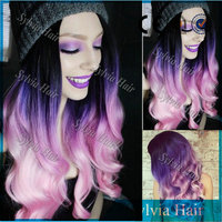 2015 wholesale 180% density black to purple ombre pink color wig cosplay wig heat resistant synthetic lace front wig