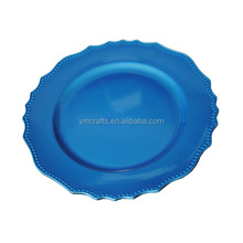 Ruffle bead colorful charger plate for party
