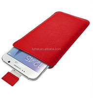 Leather Pouch Skin Sleeve For Samsung Galaxy S6 With Pull Tab Case Cover