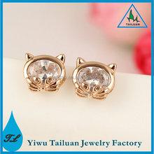 New arrival 18k plated gold zircon lucky bird Stud Earring for women