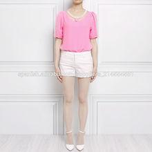 camisa de gasa verano 2014 coreano nuevo abrigo recto perla- cuello redondo de malla de cuentas blusa de manga corta